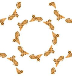Tigers in circle seamless pattern vector