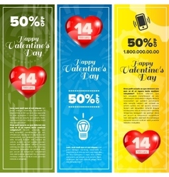 Valentine day banners set vector image vector image