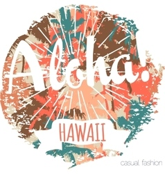 Vintage tropical exotic hawaii print for t-shirt vector