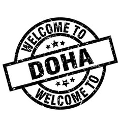 Welcome to doha black stamp vector