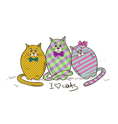 With three funny fat cats vector