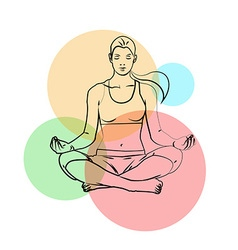 Yoga poses yoga pants on a colored background vector