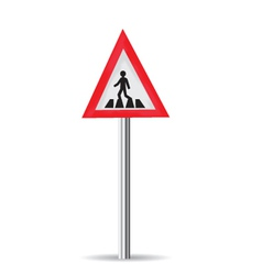 Road sign pedestrian crossing vector
