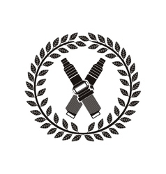 Monochrome spark plug award between olive crown vector