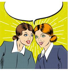cartoon pop art comic business women having a vector image