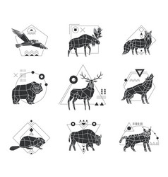 Animals polygonal monochrome emblems vector