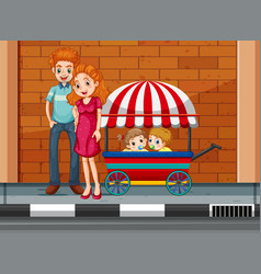 Family with children in cart vector