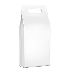 White plastic foil paper food bag package of vector