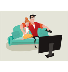 Couple relaxing on the sofa watching tv vector