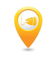 Fishing icon yellow map pointer vector
