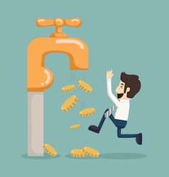 Money coins fall out of golden faucet vector