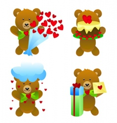 Teddy bear with love gifts vector