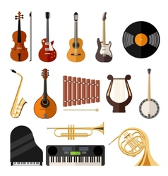 Music instruments flat icons vector