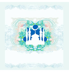 Ramadan background - mosque silhouette card vector