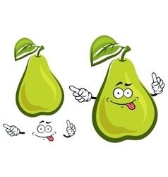 Funny green yellow pear fruit character vector