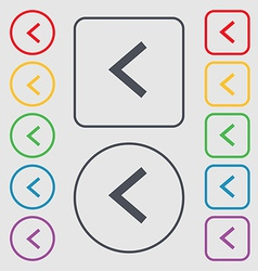 Arrow left way out icon sign symbol on the round vector