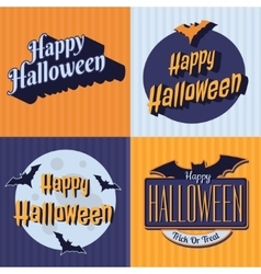 Halloween retro set labels emblems vector