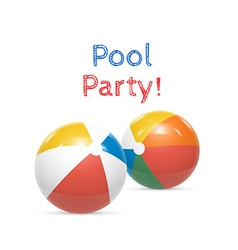 Pool party beach balls isolated on white vector