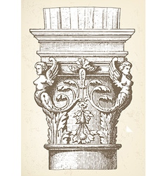 Vintage column capital vector