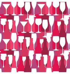Seamless background with wine and cocktail bottles vector