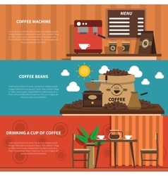 Coffee bar 2 flat horizontal banners vector