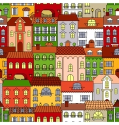 Retro seamless houses of old town streets pattern vector