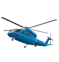 Flying blue helicopter vector