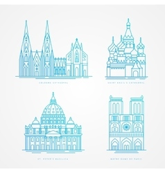 Linear icion set world famous cathedral vector