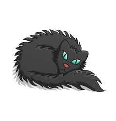 Black fluffy cat vector