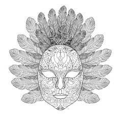 Carnival mask coloring book for adults vector image vector image
