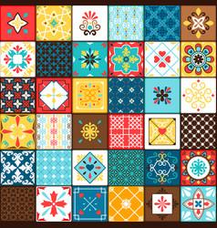 Ceramic tiles in oriental vintage style vector
