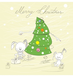 christmas tree with two rabbit vector image