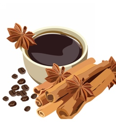 Cup of coffee with cinnamon and anise stars vector image