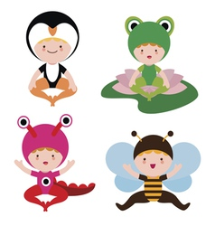 Cute baby in costumes set vector