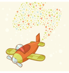 Cute cartoon hand-drawn airplane vector image vector image