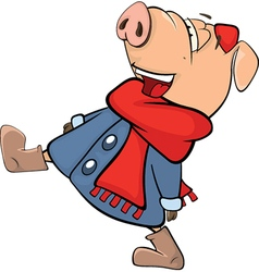 Cute pig farm animal cartoon vector