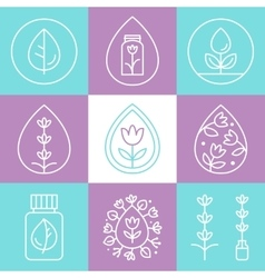 Essential oils outline icons or logos vector