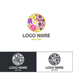 flowers coffee logo four vector image