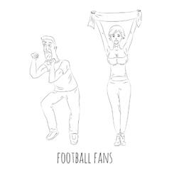 Football fans hand drawn vector