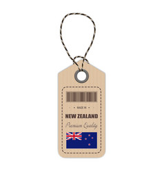 Hang tag made in new zealand with flag icon vector