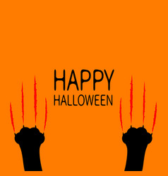 happy halloween two black cat scratching paw leg vector image