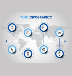 Infographic design with time icons vector