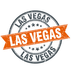 Las vegas red round grunge vintage ribbon stamp vector