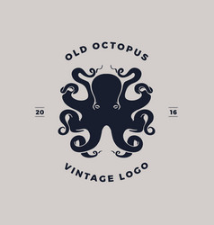 octopus silhouette logo vector image vector image