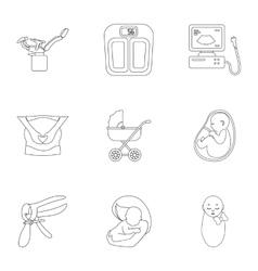 Pregnancy set icons in outline style Big vector image vector image