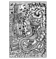 pumpkinhead in halloween night engraved fantasy vector image