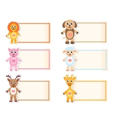 Set animal blank template for text lion giraffe vector