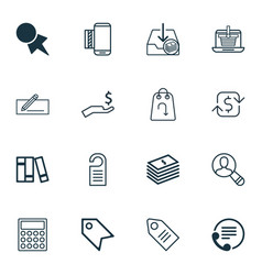 set of 16 commerce icons includes calculator vector image vector image