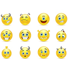 set of smileys style toothy alien monsters vector image