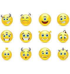 Set of smileys style toothy alien monsters vector